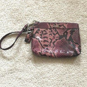 Coach Purple Snake Skin Wristlet Purse